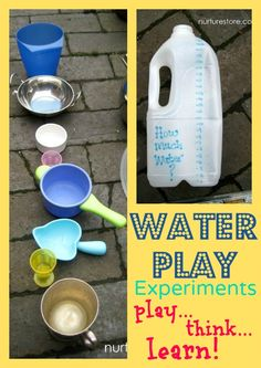 Water play experiments: great ideas for experiments based around the children's own questions, with tips for adding in extra resources to extend the learning. Love the ideas for using chalk to pose questions for the children to answer.