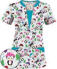 UA Party Penguins White Print Scrub Top- got it. Buy Scrubs, Scrubs Uniform, Womens Scrubs, Medical Scrubs, Scrub Tops, Work Wardrobe, Work Attire, Winter Dresses, Short Sleeve Dresses