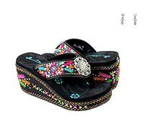 5e61baf5657ea1 Montana West Aztec Flower 3 Wedge Sugar Skull Flip Flops Earrings Set Jp  Black 8   Details can be found by clicking on the image. Sandals For Women