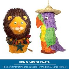 Lion & Parrot Pinata Foraging Parrot Toy Pack suitable for Medium and Large Parrots. Chewable hollow toys with a flap at the back so you can fill it with your Parrot`s favourite treats.