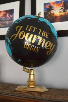 Upcycled and Painted Thrift Store - This globe is so much fun and will be perfect in the gender neutral travel themed nursery. The continents and oceans were hand painted over an old thrift store globe. Travel Theme Nursery, Themed Nursery, Painted Globe, Hand Painted, Graduation Theme, Vintage Graduation Party Ideas, Graduation Decorations, College Graduation, Graduation Ideas