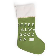 """Busy Bree """"Good Idea"""" Green Tyopgraphy Christmas Stocking"""