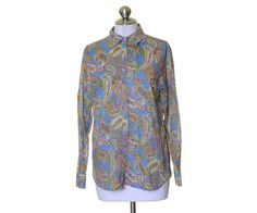 Jones New York Blue Multi-Color Paisley Print Cotton Button Blouse Shirt Size M #JonesNewYork #ButtonDownShirt #Casual