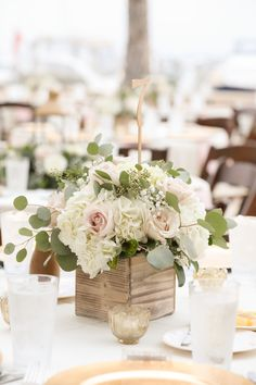 Outdoor Rustic Nautical Wedding Reception Table Decor with Low Ivory and Blush Rose and Floral with Greenery Centerpiece in Wooden Box