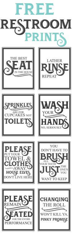 Splendid Free Vintage inspired bathroom printables-funny quotes to hang up in the restroom-farmhouse style-www.themoun… The post Free Vintage inspired bathroom printables-funny quotes to hang up in the restroo… appeared first on Dol Decor . Vintage Inspiriert, Do It Yourself Home, My New Room, Home Projects, Outdoor Projects, Home Renovation, Bathroom Renovations, Decorating Bathrooms, Bathroom Makeovers