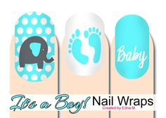 Baby Shower It's A Boy Nail Wraps Blue and white Baby by MisManos