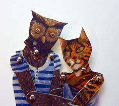 Animal Paper Puppet Doll Set,  Owl and the Pussycat for Retro Vintage Play, Romantic Gift Giving, Wedding, Engagement, Anniversary.  via Etsy.