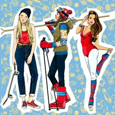 Some pieces from my recent projects on Behance by Anna Lazareva Woman Illustration, Digital Illustration, Anna, Sketches Of People, Glamour, Tween, Skiing, Princess Zelda, Wonder Woman