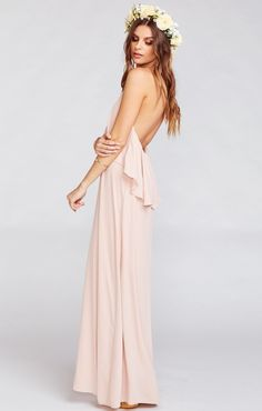 Here's a really fun high-low dress on top and bottom! And since Aimee Ruffle Maxi is a halter there's just another excuse to show off those shoulders and all that time you've spent perfecting downward facing down and planking.    *MADE IN THE GORGE USA* *I Come in Six Sizes: XS, S, M, L, XL, XXL *100% Poly *Ties at Neck *Slight empire waist  *Lined to the ground *Mumu Bridesmaid dresses are standard 'long' bridesmaid length. They will fit most heights…