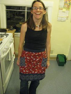 Wow! Love this skirt with sashiko pieces! Congrat.