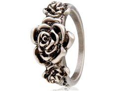 Vintage Rose Shaped Ring Sz 9 (Silver)