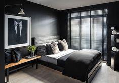 Room Ideas Bedroom, Bedroom Furniture, Bedroom Decor, Stylish Bedroom, Modern Bedroom, Men's Bedroom Design, Black And Grey Bedroom, Bedroom Ideas For Men Bachelor Pads, Bedrooms For Men