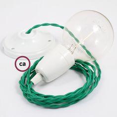 Suspension lamp, textile cord pendel 2m. Porcelain cup and rosette. Italy: www.creative-cables.it USA: www.creative-cables.com Europe&Australia: www.creative-cables.net #suspension #lamp #porcelain #bulb #light #cup #rosette #darkblue #blue #textile #fabric #creativecables #lampadina #luce #lampada #sospensione #cavo #rosone #porcellana