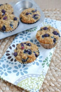These Healthy Blueberry Muffins are lightly sweetened and bursting with flavor. They're kid-friendly and make a great breakfast or snack!