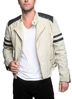 Men's Leather Jackets: How To Choose The One For You. A leather coat is a must for each guy's closet and is likewise an excellent method to express his individual design. Leather jackets never head out of styl Men's Leather Jacket, Moto Jacket, Leather Jackets, Leather Shoes, Stylish Mens Fashion, Fashion Edgy, Stylish Jackets, Fashion Night, White Leather