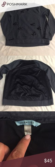 Anthropologie Migration Bird Sweatshirt Anthropologie brand LEIFNOTES sweatshirt with luxe details such as sequined birds and satin back paneling. Offers welcome via offer button, will ONLY trade for a size medium. Anthropologie Tops Sweatshirts & Hoodies