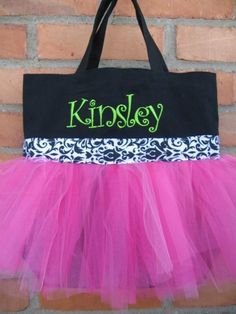 I really like these personalized tutu totes. I'm highly considering making one, if it's easy enough (and looks good lol) then I might just make them to sell.