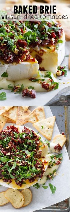 Ingredients 4 oz sun-dried tomatoes, finely chopped 3-4 cloves garlic, minced 1 (13.2 oz) wheel brie cheese 1-2 tablespoons c...