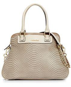 Calvin Klein Handbag, Washington Embossed Snake Satchel - Handbags & Accessories - Macy's