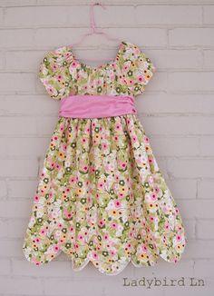 Ladybird Ln: Sweet Easter Dresses!  adding scallop edges to a dress pattern