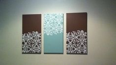 DIY canvas art to match room decor.  Canvas bought online, paint from Lowes, stencil from Michaels.  Super thrifty!
