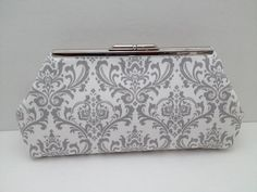 Grey and White Small Damask Cotton Clutch Purse with Nickel/Silver Finish Snap Close Frame, Bridesmaid Clutch, Purse, Wedding, Bag on Etsy, $28.00