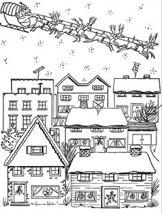 christmas village houses coloring pages - photo#22