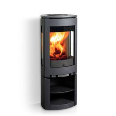 wood heating stove / contemporary / 3-sided / cast iron