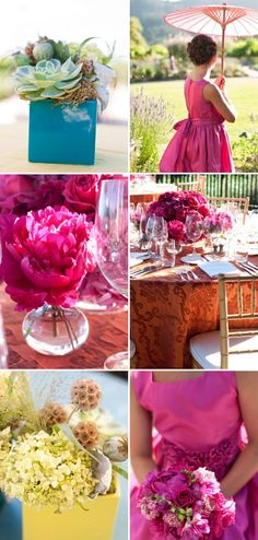 Succulents, parasols, and lush flowers in gorgeous colors--my favorites!