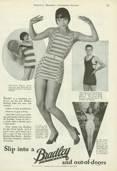 1920s swimsuit advertisement from Photoplay Magazine, featuring Louise Brooks, Dorothy Dwan, Nick Stuart & Dorothy Gulliver.