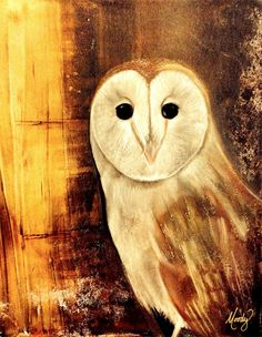 barn owl by Monica Moody - mixed media gelli print, with panpastel and charcoal. #gelliarts