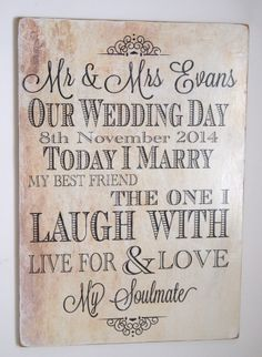 Our Wedding Plaque Large Personalised A3 Sign