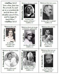 Beatitudes & Modern Saints Card Game click on the youth group ideas!!!!!!!!!!!!