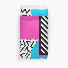 Colorful Retro Memphis Abstract Duvet Cover $98.83 from RedBubble • Also buy this artwork on home decor, apparel, stickers, and more.