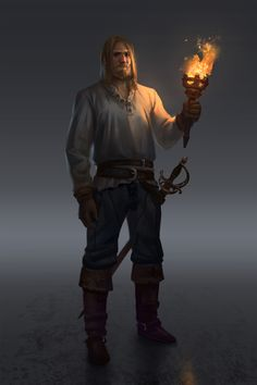 Night Patrol by NathanParkArt torch pirate night human male concept character Fantasy Male, Fantasy Rpg, Medieval Fantasy, Fantasy World, Dark Fantasy, Fantasy Portraits, Character Portraits, Character Art, Character Design
