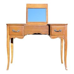 Vintage French Provincial style Maple Writing Desk Dressing Table Vanity Flip Up Mirror Danish Modern, Mid-century Modern, Modern Design, Dressing Table Vanity, Mid Century Modern Furniture, Writing Desk, French Vintage, Home Furnishings, Art Deco