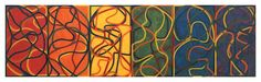 Brice Marden:   The Propitious Garden of Plane Image, First Version  2000-2005  Oil on linen  6 panels: 42 x 24 inches (each); 107 x 61 cm  Overall: 42 x 144 inches; 107 x 366 cm