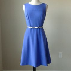 Seamed fit flare majorelle blue dress Skinny belt not included,  this dress is sold without a belt. 63% polyester,  33% rayon, 4% spandex. Hidden back zip. Fully lined. Measurements in inches - Size  8: bust 37, waist 31, length 38.5. Size 12: bust 39.5, waist 34, length 39 White House Black Market Dresses Midi