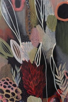'The Storm's Treasures' by Tiel Seivl-Keevers Textile Patterns, Textiles, Print Patterns, Flower Art, Art Flowers, Material Things, Printmaking, Design Art, Contemporary Art