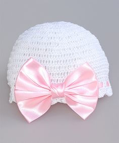Look at this #zulilyfind! Pink and Blue Knitwear White & Pink Bow Crochet Beanie by Pink and Blue Knitwear #zulilyfinds