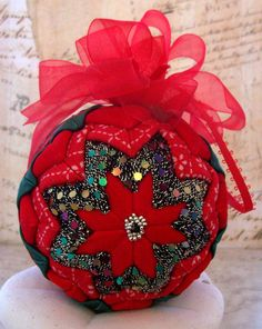Victorian Ornament Folded Fabric Red Velvet Green by LadyAbeada, $25.00