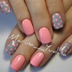 Pretty Polka Dots Nail Designs - For Creative Juice Pink and Gray Dot Nail Art. (via Pretty Polka Dots Nail Designs - For Creative Juice Pink and Gray Dot Nail Art. Shellac Nails, Diy Nails, Cute Nails, Acrylic Nails, Nail Nail, Manicure Ideas, Coffin Nails, Gel Manicure, Stiletto Nails