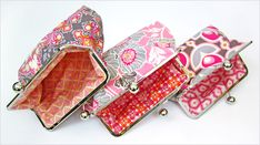Notting Hill Primrose Sateen in Pink Frame purse tutorial. I made three from this tute. It is very easy Clutch Pattern, Wallet Pattern, Sewing Tutorials, Sewing Projects, Bag Tutorials, Coin Purse Tutorial, Tote Tutorial, Tutorial Sewing, Bag Patterns To Sew