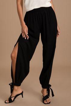 Cute Pants, Beach Pants, Fashion Joggers, Black Side, Linen Pants, Jogger Pants, Look Cool, Amazing Women, Take That