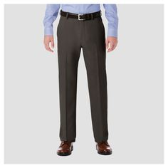 Haggar H26 Men's Performance 4 Way Stretch Classic Fit Trouser Pants - Charcoal Heather 38x30
