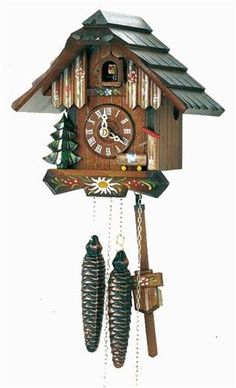 Chalet Style Black Forest Cuckoo Clock 63-10. h1Chalet Style Black Forest Cuckoo Clock 63-10_h1The Chalet Style Black Forest Cuckoo Clock 63-10. This Cuckoo Clock is crafted of solid Spruce wood and hand carved Linden wood from the Black Forest of Germany. Hand paint.. . See More Cuckoo Clocks at http://www.ourgreatshop.com/Cuckoo-Clocks-C1122.aspx