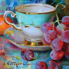 "Daily+Paintworks+-+""Teacup+and+Red+Grapes""+-+Original+Fine+Art+for+Sale+-+©+Elena+Katsyura"