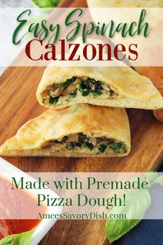 Easy Spinach Calzones are super easy to make using ready-made pizza dough.  This fast and easy recipe is kid-friendly and great for a busy weeknight meal.  #calzonerecipe #spinachcalzones #easycalzones #easyitalianrecipes #italianfood #calzone via @Ameecooks Easy Pasta Dinner Recipes, Easy Vegetarian Dinner, Quick Dinner Recipes, Appetizer Recipes, Lunch Recipes, Appetizers, Spinach Recipes, Cooking Recipes
