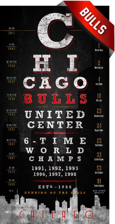 Chicago Bulls Skyline Eye Chart - 6-Time Championship Years - Free Customization - Perfect Birthday Gift on Etsy, $26.50