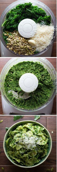 Kale, Pepita, Sunflower Seed Pesto.  A healthy pesto that is perfect on pasta, sandwiches, and pizza.